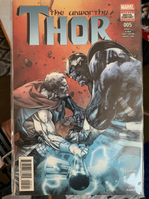 Huh, Marvel, and Thor: MARVEL  The unworThy  THOR  BONUS  DIGITAL  CONTENT  see inside fo details  005  RATED T+  $3.99US  DIRECT EDITION  MARVEL.COM  MW  AARON  COIPEL  JACINTO  ALIXE  LOPES  RAMOS  00511  7  59606 08624 5 stormbreaker ain't so hot when your not using it to throw a sucker punch, huh?