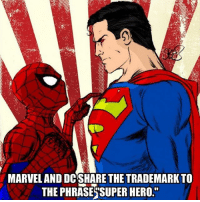 "Leave an emoji in the comments if you like D.C.: MARVELAND DCSHARE THE TRADEMARK TO  THE PHRASES SUPER HERO."" Leave an emoji in the comments if you like D.C."
