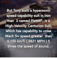 Iron Man, Memes, and Superhero: Marvelmoviefacts  Fact #119  But Tony built a hypersonic  speed capability suit in iron  man 3 named Piston, is a  High-Velocity Centurion Suit,  which has capability to cross  Mach 5- speed greater than  6,150 km/h (3821 MPH) 5  times the speed of sound. Villains tonystark ironman marvel RDJ hulk avengers comics thor sciencebros marvelmovies blackwidow hawkeye captainamerica starkindustries steverogers teamstark teamcap robertdowneyjr geek superhero superheroes ironman1 ironman2 ironman3 gaurdiansofthegalaxy captainamericacivilwar civilwar marvelcomics marveluniverse