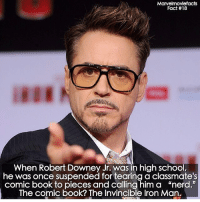 "Marvelmoviefacts  Fact #18  When Robert Downey Jr. was in high school,  he was once suspended for tearing a classmate's  comic book to pieces and calling him a ""nerd.""  The comic book? The Invincible Iron Man. Villains tonystark ironman marvel RDJ hulk avengers comics thor sciencebros marvelmovies blackwidow hawkeye captainamerica starkindustries steverogers teamstark teamcap robertdowneyjr geek superhero superheroes ironman1 ironman2 ironman3 gaurdiansofthegalaxy captainamericacivilwar civilwar marvelcomics marveluniverse"