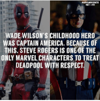 America, Memes, and Respect: MARVELMOVIEFACTS  FACT #206  WADE WILSON'S CHILDHOOD HERO  WAS CAPTAIN AMERICA. BECAUSE OF  THIS. STEVE ROGERS IS ONE OF THE  ONLY MARVEL CHARACTERS TO TREAT  DEADPOOL WITH RESPECT Villains tonystark ironman marvel RDJ hulk avengers comics thor sciencebros marvelmovies blackwidow hawkeye captainamerica starkindustries steverogers teamstark teamcap robertdowneyjr geek superhero superheroes ironman1 ironman2 ironman3 gaurdiansofthegalaxy captainamericacivilwar civilwar marvelcomics marveluniverse