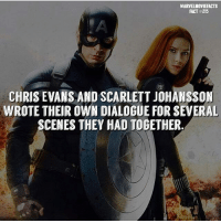 Tag a friend! - - Follow @marvelmoviefact - Villains tonystark ironman marvel RDJ hulk avengers comics thor sciencebros marvelmovies blackwidow hawkeye captainamerica starkindustries steverogers teamstark teamcap robertdowneyjr geek superhero superheroes ironman1 ironman2 ironman3 gaurdiansofthegalaxy captainamericacivilwar civilwar marvelcomics marveluniverse: MARVELMOVIEFACTS  FACT #215  CHRIS EVANS AND SCARLETT JOHANSSON  WROTE THEIR OWN DIALOGUE FOR SEVERAL  SCENES THEY HAD TOGETHER Tag a friend! - - Follow @marvelmoviefact - Villains tonystark ironman marvel RDJ hulk avengers comics thor sciencebros marvelmovies blackwidow hawkeye captainamerica starkindustries steverogers teamstark teamcap robertdowneyjr geek superhero superheroes ironman1 ironman2 ironman3 gaurdiansofthegalaxy captainamericacivilwar civilwar marvelcomics marveluniverse