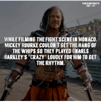 "Crazy, Memes, and Superhero: MARVELMOVIEFACTS  FACT #217  WHILE FILMING THE FIGHT SCENEIN MONACO.  MICKEY ROURKE COULDN'T GET THE HANG OF  THE WHIPS SO THEY PLAYED GMARLS  BARKLEY'S ""CRAZY"" LOUDLY FOR HIM TO GET  THE RHYTHAM. Villains tonystark ironman marvel RDJ hulk avengers comics thor sciencebros marvelmovies blackwidow hawkeye captainamerica starkindustries steverogers teamstark teamcap robertdowneyjr geek superhero superheroes ironman1 ironman2 ironman3 gaurdiansofthegalaxy captainamericacivilwar civilwar marvelcomics marveluniverse"