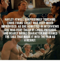 Chris Evans, Memes, and Superhero: MARVELMOVIEFACTS  FACT #219  HAYLEY ATWELL SURPRISINGLY TOUCHINIG  CHRIS EVANS' CHEST WAS VERY MUCH  IMPROVISED. AS SHE ADMITTED IN INTERVIEWS  SHE WAS VERY TAKEN BY CHRISI PHYSIOUE  AND NEARLY BROKE CHARACTER AND RUINED  THE TAKE THAT MADE IT INTO THE FILM AS  A RESULT Villains tonystark ironman marvel RDJ hulk avengers comics thor sciencebros marvelmovies blackwidow hawkeye captainamerica starkindustries steverogers teamstark teamcap robertdowneyjr geek superhero superheroes ironman1 ironman2 ironman3 gaurdiansofthegalaxy captainamericacivilwar civilwar marvelcomics marveluniverse