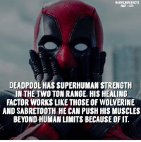 Memes, Superhero, and Deadpool: MARVELMOVIEFACTS  FACT #220  DEADPOOL HAS SUPERHUMAN STRENGTH  IN THE TWO TON RANGE. HIS HEALING  FACTOR WORKS LIKE THOSE OF WOLVERINIE  AND SABRETOOTH HE CAN PUSH HIS MUSCLES  BEYOND HUMAN LIMITS BECAUSE OF IT. Villains tonystark ironman marvel RDJ hulk avengers comics thor sciencebros marvelmovies blackwidow hawkeye captainamerica starkindustries steverogers teamstark teamcap robertdowneyjr geek superhero superheroes ironman1 ironman2 ironman3 gaurdiansofthegalaxy captainamericacivilwar civilwar marvelcomics marveluniverse