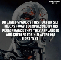 Memes, Superhero, and Hulk: MARVELMOVIEFACTS  FACT#226  ON JAMES SPADER'S FIRST DAY ON SET.  THE CAST WAS SO IMPRESSED BY HIS  PERFORMANCE THAT THEY APPLAUDED  AND CHEERED FOR HIM AFTER HIS  FIRST TAKE Villains tonystark ironman marvel RDJ hulk avengers comics thor sciencebros marvelmovies blackwidow hawkeye captainamerica starkindustries steverogers teamstark teamcap robertdowneyjr geek superhero superheroes ironman1 ironman2 ironman3 gaurdiansofthegalaxy captainamericacivilwar civilwar marvelcomics marveluniverse