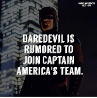 Memes, Superhero, and Hulk: MARVELMOVIEFACTS  FACT #229  DAREDEVIL IS  RUMORED TO  JOIN CAPTAIN  AMERICA'S TEAM Villains tonystark ironman marvel RDJ hulk avengers comics thor sciencebros marvelmovies blackwidow hawkeye captainamerica starkindustries steverogers teamstark teamcap robertdowneyjr geek superhero superheroes ironman1 ironman2 ironman3 gaurdiansofthegalaxy captainamericacivilwar civilwar marvelcomics marveluniverse