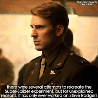 Memes, Superhero, and Hulk: Marvelmoviefacts  Fact #59  there were several attempts to recreate the  Super-Solider experiment, but for unexplained  reasons, it has only ever worked on Steve Rodgers Villains tonystark ironman marvel RDJ hulk avengers comics thor sciencebros marvelmovies blackwidow hawkeye captainamerica starkindustries steverogers teamstark teamcap robertdowneyjr geek superhero superheroes ironman1 ironman2 ironman3 gaurdiansofthegalaxy captainamericacivilwar civilwar marvelcomics marveluniverse