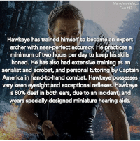 America, Memes, and Superhero: Marvelmoviefacts  Fact #87  Hawkeye has trained himself to become an expert  archer with near-perfect accuracy. He practices a  minimum of two hours per day to keep his skills  honed. He has also had extensive training as an  aerialist and acrobat, and personal tutoring by Captain  America in hand-to-hand combat. Hawkeye possesses  vary keen eyesight and exceptional reflexes. Hawkeye  is 80% deaf in both ears, due to an incident and  wears specially designed miniature hearing aids. Villains tonystark ironman marvel RDJ hulk avengers comics thor sciencebros marvelmovies blackwidow hawkeye captainamerica starkindustries steverogers teamstark teamcap robertdowneyjr geek superhero superheroes ironman1 ironman2 ironman3 gaurdiansofthegalaxy captainamericacivilwar civilwar marvelcomics marveluniverse