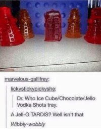 wobble: marvelous-gallifrey:  lickystic  she:  ic  Dr. Who Ice Cube/Chocolate/Jello  Vodka Shots tray.  A Jell-O TARDIS? Well isn't that  Wibbly wobbly
