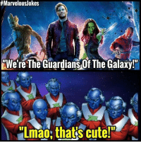 "Cute, Lmao, and Memes:  # Marvelous/okes  ""We're The Guardians Of The Galaxy!""  Lmao,that's cute Guardians need more than just a Stan Lee cameo.. MarvelousJokes"