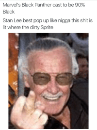 Blackpeopletwitter, Lit, and Pop: Marvel's Black Panther cast to be 90%  Black  Stan Lee best pop up like nigga this shit is  lit where the dirty Sprite <p>He gonna pop up somewhere. (via /r/BlackPeopleTwitter)</p>