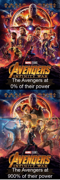 Avengers: MARVELSTUDS  VENGERS  INFINITY WAR  The Avengers at  0% of their power  ETT  NE  HIGCKE  MARVEL STUDIOS  CAVENGERS  INFINITY WAR  The Avengers at  900% of their power