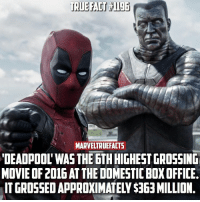 """What was your favorite moment from the film!? Did a lot better than anyone expected, especially with its rating. Anyone excited for the sequel? (Domestic refers to U.S. And Canada only): MARVELTRUEFACTS  """"DEADPOOL WAS THE 6TH HIGHEST GROSSING  MOVIE OF 2016AT THE DOMESTICBOXOFFICE. What was your favorite moment from the film!? Did a lot better than anyone expected, especially with its rating. Anyone excited for the sequel? (Domestic refers to U.S. And Canada only)"""