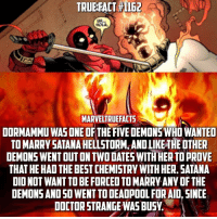 Memes, Deadpool, and 🤖: MARVELTRUEFACTS  DORMAMMU WAS ONE OF THE FIVEDEMONSWHO WANTED  TO MARRY SATANAHELLSTORM, ANDLIKETHEDTHER  DEMONS WENT OUT ON TWODATES WITHHER TOPROVE  THAT HE HAD THE BESTCHEMISTRYWITHHER. SATANA  DIDNOT WANT TOBEFORCED TOMARRY ANY OF THE  DEMONS AND SO WENTTO DEADPOOL FOR AID, SINCE  DOCTOR STRANGEWASBUSW When you have no other option, go with Deadpool.