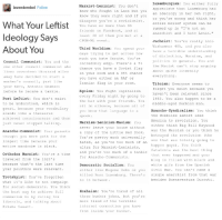 America, Arguing, and Books: Marxist-Leninist  You don  lavenderebel  Follow  know who fought in Laos but you  know they were  right and if you  disagree you  revisionist  What Your Leftist  You have  no more than 30  friends  n Facebook  and at  Ideology Says  least 20 of them you met at a  CPGB-ML event  About You  Third Worldism:  You  spend your  days trying to get across how  much you hate Unruhe  re  Council Communist  You  nd the  incredibly edgy  There  a 5%  other  ouncil communist who  One  chance you have  a Soviet flag  lives  seventeen thousand miles  in your  nd a 95% chance  room  away have decided to  start a  you have  either  an RAF  worker  council, j  ust like  Iranian flag in your  room.  your hero  Antonio Gramsci  Egoism  You fight capitalism.  before he became  a tank ie  every Friday night by going to  Post Leftist  You don't exist  the bar with your friends  to be understood  which is  sit in  silence  because  all of  great  because your vocabulary  you know that language is  sounds like  a thesaurus  spook  achieved consciousness  and then  Marxism-Leninism-Maoism  You  ust never  stopped talking  never leave your house without  Anarcho-Communist  Your parents  copy of the Little Red Book  thought you  were goth for the  You  re pretty much universally  longest time because your  hated  re too much of an  as you  entire wardrobe is black  ultra for Marxist-Leninists  and you  re too much of a tank ie  Orthodox Marxist  You re a time  for Anarcho-Communists  traveler from the 1920  because that's the last time  Democratic Socialism:  You  your politics were  relevant  either like Eugene Debs  or you  killed Rosa Luxemburg  There  Trotskyist:  You've forgotten  no in between  what it  like to not campaign  for  social-democrats  You think  Hoxhai  You  re tired of all  the best way to  achieve full  these bunker  jokes  but you  Communism is by voting for  more tired of the terrible  liberals, and talking about  internet connection you have