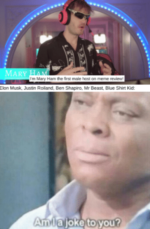 Meme, Blue, and Elon Musk: MARY HAM  I'm Mary Ham the first male host on meme review!  Elon Musk, Justin Roiland, Ben Shapiro, Mr Beast, Blue Shirt Kid:  Amlajoke to you? Mary Ham hasn't done their research!