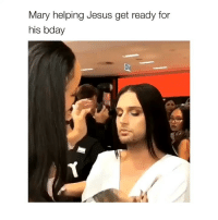 Jesus, Twitter, and Girl Memes: Mary helping Jesus get ready for  his bday via: mascfemme on twitter