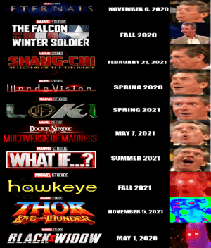 Fall, Winter, and Summer: MARY IL SUULE  ETER N ALS  NOVEMBER 6,2020  MARVEL STUDIOS  THE FALCON  FALL 2020  WINTER SOLÓIER  THE  MARVEL STUDIOS  SHANG-CH  FEBRUARY 21, 2021  AE LEGEND OF THE TEN RINGS  WARVEL STUCIOS  WandaVision  SPRING 2020  MARVEL STUDIOS  OK  SPRING 2021  MARVEL STUnins  DOCKЖ,STIEONGE  MAY 7, 2021  MULTIVERSE OF MADNESS  MARVEL STUDIOS  WHATIF?  SUMMER 2021  MARVEL STUDIOS  hawkeye  FALL 2021  MARVEL STUDIOS  HOK  NOVEMBER 5, 2021  TOVEANDHUNDER  MARVEL STUDIOS  RLACK WIDOW  MAY 1, 2020 Ultra Nut
