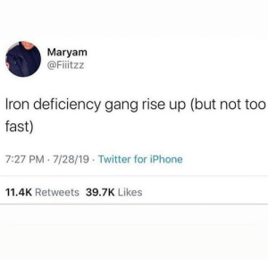*faints* by grassgames MORE MEMES: Maryam  @Fiiitzz  Iron deficiency gang rise up (but not too  fast)  7:27 PM 7/28/19 Twitter for iPhone  11.4K Retweets 39.7K Likes *faints* by grassgames MORE MEMES