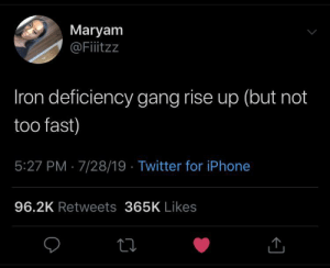 meirl: Maryam  @Fitzz  Iron deficiency gang rise up (but not  too fast)  5:27 PM 7/28/19 Twitter for iPhone  96.2K Retweets 365K Likes meirl