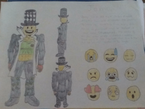 [Mascot] My mascot submission for the SubReddit had to do by hand but I don't think that matter, the description will be in the comments due to my poor handwriting and it being in pencil. Part 1, part 2 is with the stand.: [Mascot] My mascot submission for the SubReddit had to do by hand but I don't think that matter, the description will be in the comments due to my poor handwriting and it being in pencil. Part 1, part 2 is with the stand.
