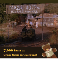 Memes, Rosie, and Bear: MASH 4077TH  BEST CARE ANYWHERE  ROSES  fb.com/RadarsBear  7,000 fans …  Grape Nehis for everyone! Care to join me at Rosie's? First round is on Frank Burns.  ☆ Radar O'Reilly's Teddy Bear ☆