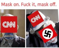 """cnn.com, Meme, and Fuck: Mask on. Fuck it, mask off.  CNN <p>This looks like a promising new meme format. Invest? via /r/MemeEconomy <a href=""""http://ift.tt/2tuzYZW"""">http://ift.tt/2tuzYZW</a></p>"""