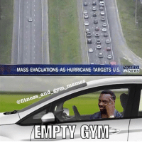 Gym, Memes, and News: MASS EVACUATIONS AS HURRICANE TARGETS US .  NEWS  @itne It's chest day baby (@fitness_and_gym_memes)
