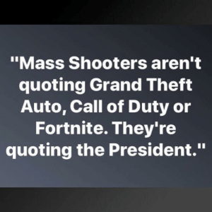 "Call of Duty: ""Mass Shooters aren't  quoting Grand Theft  Auto, Call of Duty or  Fortnite. They're  quoting the President."""