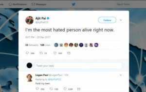 Logan Paul breaks record.: Massage  Ajit Pai  Follow  I'm the most hated person alive right now.  07 PM-29 Dec 2017  53 Retweets 169 Lkes  。宽  @嬖@ 으哉0  Tweet your reply  Logan PaulLoganPaul t0h  Replying to GAjtPaircC  Hold my beer  9496 46 E Logan Paul breaks record.