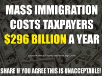 Yikes...: MASSIMMIGRATION  COSTS TAXPAYERS  $296 BILLION A YEAR  (Source: National Academy of Sciences, Sept. 2016)  SHARE IF YOU AGREE THIS IS UNACCEPTABLE! Yikes...