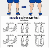 Advice, Clothes, and Facebook: massive calves workout  ofactsoftraining  seated calf raises  standing dumbbell calf raises  bodyweight calf raises  seated calf raises standing dumbbell calf raises  bodyweight calf raises  (single leg)  (single leg)  (single leg) 🔥🤔HOW DO I BUILD HUGE CALVES? Founder 👉: @king_khieu. Some people are genetically born with massive calves while others are born with small ones. However, not to worry. If you follow this advice, you will develop huge calves in no time. It will simply take consistency, intensity and progressive overloading. Here are some tips that will help you bring out the size of your calves. 1 - Train calves as if if were a major muscle group. Do not just train them at the end of a leg workout. 2 - Keep the full range of motion slow and controlled. Focus on the squeeze instead of bouncing up and down. 3 - Train them 2-3 times a week. They recover quickly. 4 - On calf raises, focus on keeping the tension-weight on the big toe instead of the outside of the foot. 5 - Finish them off with high reps and drop sets. 6 - Change up the feet position including inward, outward, straight, shoulder width and wider than shoulder width. 7 - Stretch properly at the end of your workout. How do you train your calves? Suggestions? Thoughts? 🤔 What do you guys think? COMMENT BELOW! Credit: @factsoftraining. TAG SOMEONE who needs to lift! _________________ Looking for unique gym clothes? Use our 10% discount code: LEGIONS10🔑 on Ape Athletics 🦍 fitness apparel! The link is in our 👆 bio! _________________ Principal 🔥 account: @fitness_legions. Facebook ✅ page: Legions Production. @legions_production🏆🏆🏆.