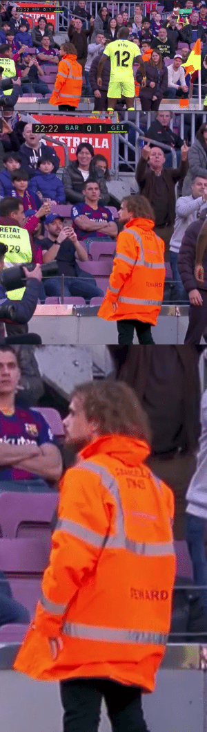 Massive respect to Griezmann. He's working as a steward today and also scored the opening goal for Barcelona.   (📸: @_IniestismoFCB_ ) https://t.co/YtL5drPskF: Massive respect to Griezmann. He's working as a steward today and also scored the opening goal for Barcelona.   (📸: @_IniestismoFCB_ ) https://t.co/YtL5drPskF