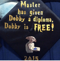 Memes, Omg, and Free: Master  has given  Debby a diploma,  Dobby is FREE! omg these graduation caps. THAT LAST ONE IS AMAZING➡️➡️➡️ - QOTP: When are you graduating? 2017 😩😭