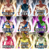 """Dragonball, Frieza, and Memes: MASTER  KRILLIN  TIEN  VEGETAGOHAN PICCOLO  GII @ULTRA B  GOLDEN  FRIEZA  ANDROID18  ANDROID17 All U7 members except Kakarot Middle column are newly done members art by @ferpedra25 DB DBZ DBS DragonBall DragonBallZ - """"Even if no one believes in me, supports me or recognizes my efforts, I'll keep going."""" - @vegeta_ultimate"""