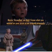 Thought you'd love it.  https://9gag.com/gag/aLj674W/sc/funny?Ref=fbsc: Master Skywalker, we didn't know what you  wanted on your pizza so we ordered pineapple Thought you'd love it.  https://9gag.com/gag/aLj674W/sc/funny?Ref=fbsc