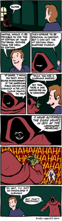 http://www.smbc-comics.com/comic/2015-01-25: MASTER, WOULD IT BE  THEY APPEAR TO BE  POSSIBLE TO USE THE  DENTICAL IN CONTENT  EDMON OF YOUR  TI CAN GET THE  TExTeooK, RATHER  EDITION FROM  THE NEW  EDITION.  TRULY, YOU AREA  YOU DONT REALLY  GLORIOUS MASTER  of THE AMERICAN  PU8LICSECTOR.  BUT THEN  THERE IS ONE  N THE LAST  MATTER FOR YOU  TWELVE MONTHS  TO CONSICER.  Do YOU  ALTERED  HAHAHAHAHAHA  WAIT IVL JUST  GO DOWNLOAD  smbc-comic http://www.smbc-comics.com/comic/2015-01-25