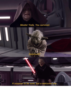 SURPISE MADAFAKA !: Master Yoda. You survived.  Surprise  d?  A surprise to be sure, but a welcome o SURPISE MADAFAKA !