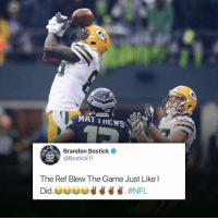 😐 Packers: MAT IHEWS  Brandon Bostick  @Bostick11  82  The Ref Blew The Game Just Like l 😐 Packers