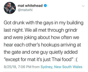 "Drunk, Food, and Tumblr: mat whitehead  @matwhi  Got drunk with the gays in my building  last night. We all met through grindr  and were joking about how often we  hear each other's hookups arriving at  the gate and one guy quietly added  ""except for mat it's just Thai food"" :(  8/25/18, 7:06 PM from Sydney, New South Wales gay-irl: gay_irl"