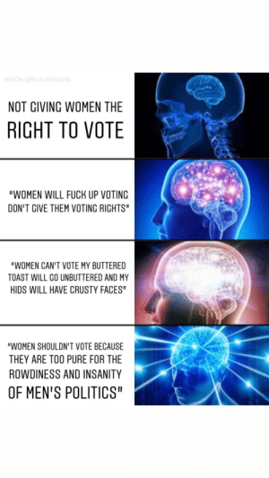 """Can't give Women Voting Rights: mat3e.github.io/brains  NOT GIVING WOMEN THE  RIGHT TO VOTE  """"WOMEN WILL FUCK UP VOTING  DON'T GIVE THEM VOTING RIGHTS""""  """"WOMEN CAN'T VOTE MY BUTTERED  TOAST WILL GO UNBUTTERED AND MY  KIDS WILL HAVE CRUSTY FACES""""  """"WOMEN SHOULDN'T VOTE BECAUSE  THEY ARE TOO PURE FOR THE  ROWDINESS AND INSANITY  OF MEN'S POLITICS"""" Can't give Women Voting Rights"""