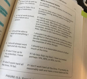 kosmonauttihai: rollerskatinglizard:  ceekari:  stayhungry-stayfree: This is a really helpful page in my CBT textbook for tackling some of the maladaptive beliefs we often hold. The first column lists the rules and assumptions we often may tell ourselves, while the second column is a more functional belief. Just thought I would pass this along. Be kind to yourselves, friends❤  Oh my god, number 5. And 6, and 7. I frigging needed that.  Failure is not a permanent condition.   The text on the image: Maladaptive belief:   If I don't do as well as others, I'm a failure.More functional belief:   If I don't do as well as others, I'm not a failure, just human.   Maladaptive belief:  If I ask for help, it's a sign of weakness.More functional belief: If I ask for help when I need it, I'm showing good problem-solving abilities (which is a sign of strength). Maladaptive belief:  If I fail at work/school, I'm a failure as a person.More functional belief:   If I fail at work/school, it's not a reflection of my whole self. (My whole self includes how I am as a friend, daughter, sister, relative, citizen, and community member, and my qualities of kindness, sensitivity to others, helpfulness, etc.) Also, failure is not a permanent condition. Maladaptive belief:  I should be able to excel at everything I try.More functional belief: I shouldn't be able to excel at something unless I am gifted in that area (and am willing and able to devote considerable time and effort toward it at the expense of other things. Maladaptive belief:  I should always work hard and do my best.More functional belief: I should put in a reasonable amount of effort much of the time. Maladaptive belief:  If I don't live up to my potential, I have failed.More functional belief: If I do less than my best, I have succeeded perhaps 70%, 80%, or 90%; not 0%. Maladaptive belief:  If I don't work hard all the time, I'll fail.More functional belief:   If I don't work hard all the time, I'll probably do reasonably well and have a more balanced life. : Mate Beliefs  More functional beliefs  t do as well as others, 'm not a failure,  If I don't do as well as  others, I'm a failure.  213  If I d  just human.  If I ask for help when I need it, I'm sh  roblem-solving abilities (which is  strength).  2 If I ask for help, it's a  sign of weakness.  (h sh  is a sign of  ing good  fail at work/school, it's not a reflection of  le self. (My whole self includes how  at work/school, If I work/sch  y whole  am as a da  and community member, and my qual  kindness, sensitivity to others, helpfulne  Also, failure is not a permanent condition.  I'm a failure as a  person  3. If I fail work/school  friend, daughter, sister, relative, citizen,  ities of  ure  I shouldn't be able to excel at something unlessl  am gifted in that area (and am willing and able to  devote considerable time and effort toward it at  the expense of other things).  4. Ishould be able to  excel at everything I  try  et  I should put in a rea  sonable amount of effort  hould always work  hard and do my best.  much of the time.  If I do less than my best, I have succeeded  perhaps 70%, 80% or 90%; not 0%.  6. I s  6. If I don't live up to  rmy potential, I have  failed.  I don't work hard all the time, ll probably do  reasonably well and have a more balanced life.  If I don't work h  If I don't work hard all  the time, I'll fail  7.  FIGURE 13.5, Fr kosmonauttihai: rollerskatinglizard:  ceekari:  stayhungry-stayfree: This is a really helpful page in my CBT textbook for tackling some of the maladaptive beliefs we often hold. The first column lists the rules and assumptions we often may tell ourselves, while the second column is a more functional belief. Just thought I would pass this along. Be kind to yourselves, friends❤  Oh my god, number 5. And 6, and 7. I frigging needed that.  Failure is not a permanent condition.   The text on the image: Maladaptive belief:   If I don't do as well as others, I'm a failure.More functional belief:   If I don't do as well as others, I'm not a failure, just human.   Maladaptive belief:  If I ask for help, it's a sign of weakness.More functional belief: If I ask for help when I need it, I'm showing good problem-solving abilities (which is a sign of strength). Maladaptive belief:  If I fail at work/school, I'm a failure as a person.More functional belief:   If I fail at work/school, it's not a reflection of my whole self. (My whole self includes how I am as a friend, daughter, sister, relative, citizen, and community member, and my qualities of kindness, sensitivity to others, helpfulness, etc.) Also, failure is not a permanent condition. Maladaptive belief:  I should be able to excel at everything I try.More functional belief: I shouldn't be able to excel at something unless I am gifted in that area (and am willing and able to devote considerable time and effort toward it at the expense of other things. Maladaptive belief:  I should always work hard and do my best.More functional belief: I should put in a reasonable amount of effort much of the time. Maladaptive belief:  If I don't live up to my potential, I have failed.More functional belief: If I do less than my best, I have succeeded perhaps 70%, 80%, or 90%; not 0%. Maladaptive belief:  If I don't work hard all the time, I'll fail.More functional belief:   If I don't work hard all the time, I'll probably do reasonably well and have a more balanced life.