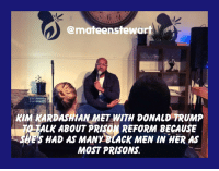 Donald Trump, Kim Kardashian, and Prison: @mateenstewart  KIM KARDASHIAN MET WITH DONALD TRUMP  TALK ABOUT PRISON REFORM BECAUSE  S HAD AS MANY BLACK MEN IN HER AS  MOST PRISONS. Two asses meet to talk prison reform.
