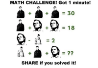 You guys can solve this maths problem out!❤️: MATH CHALLENGE! Got 1 minute!  30  18  SHARE if you solved it! You guys can solve this maths problem out!❤️