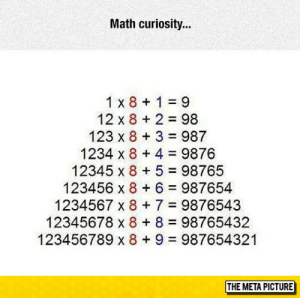 Tumblr, Blog, and Math: Math curiosity...  1 x 8 1 9  12 x 8 2 98  123 x 8 3 987  1234 x 8 4 9876  12345 x 8 5 98765  123456 x 8 6 987654  1234567 x 87 9876543  12345678 x 8 8 98765432  123456789 x 8+ 9 987654321  THE META PICTURE srsfunny:Math Works In Mysterious Ways