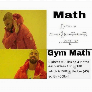 Gym, Math, and Bar: Math  nux  2-1  2a  Gym Math  2 plates = 90lbs so 4 Plates  each side is 180 +180  which is 360 + the bar (45)  so it's 405lbs! The only math i understand.