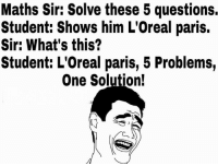 Memes, Paris, and 🤖: Maths Sir: Solve these 5 questions.  Student: Shows him L'Oreal paris.  Sir: What's this?  Student: L'Oreal paris, 5 Problems,  One Solution!