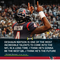 All 👀 on @deshaunwatson this season. https://t.co/Uxq23xcqIG: MATSON  DESHAUN WATSON IS ONE OF THE MOST  INCREDIBLE TALENTS TO COME INTO THE  NFL IN A LONG TIME. I THINK HE'S GONNA  BE THE BEST QB...I THINK HE'S THE FUTURE  Michael Bennett, VIA NFL TOP 100 All 👀 on @deshaunwatson this season. https://t.co/Uxq23xcqIG