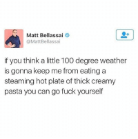 Anaconda, Fuck, and Girl: Matt Bellassa.  @MattBellassai  if you think a little 100 degree weather  is gonna keep me from eating a  steaming hot plate of thick creamy  pasta you can go fuck yourself tell em Matt